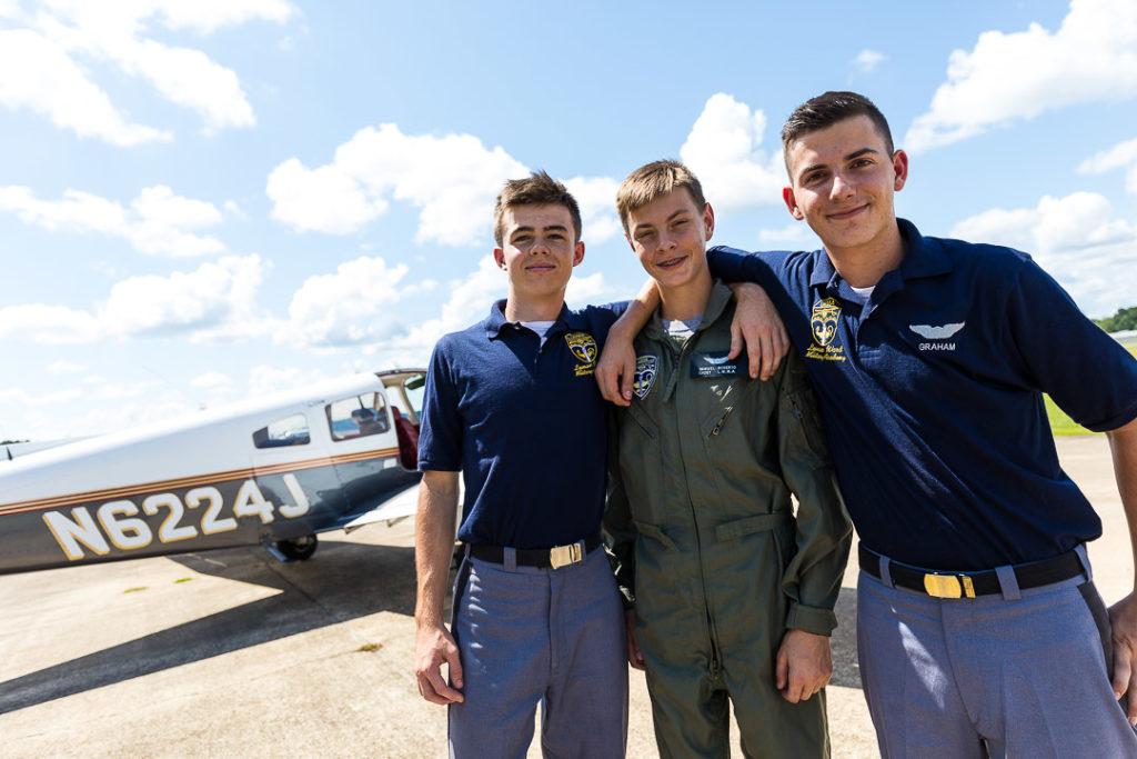 three flight crew cadets