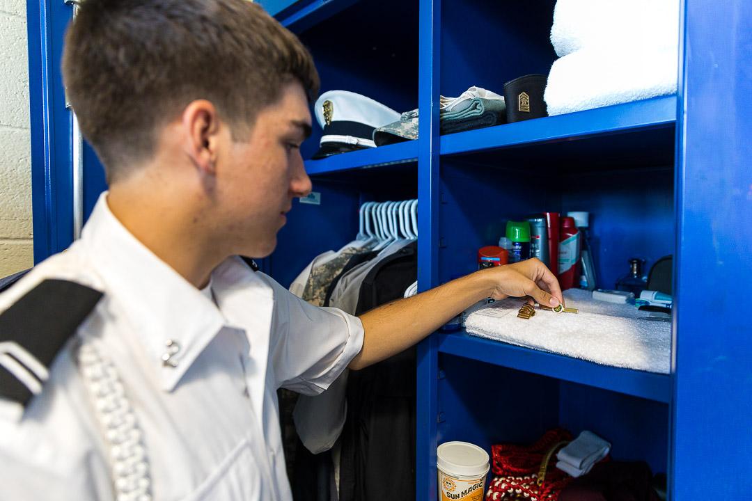 young cadet at his locker