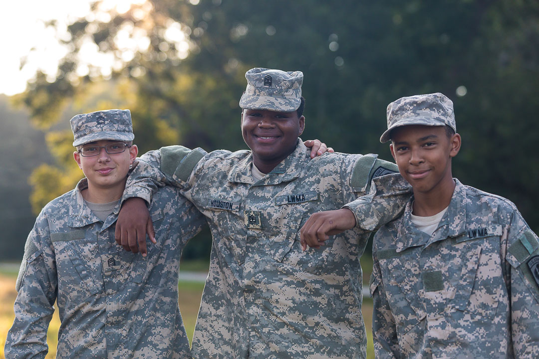 three cadets hanging out