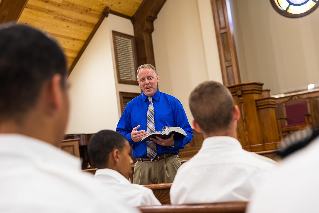 preacher gives daily sermon