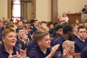 cadets clapping in chapel