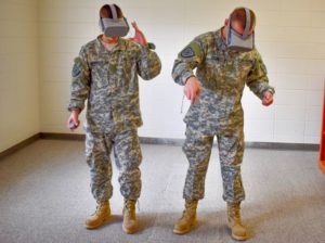 two cadets playing with vr headsets