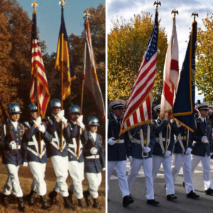 military day cadets holding flags