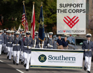 southern prep cadets marching in a parade
